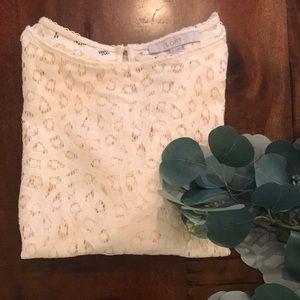 LOFT 3/4 Length Sleeve Lace Top in Cream